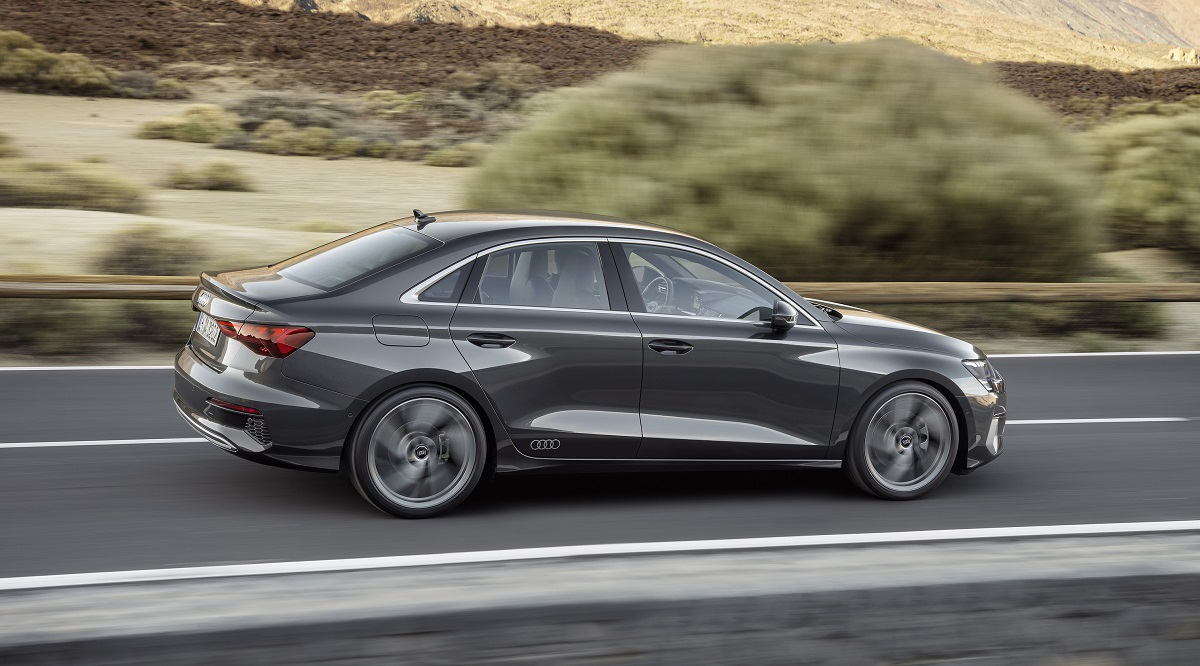2022 Audi A3 side motion view in grey
