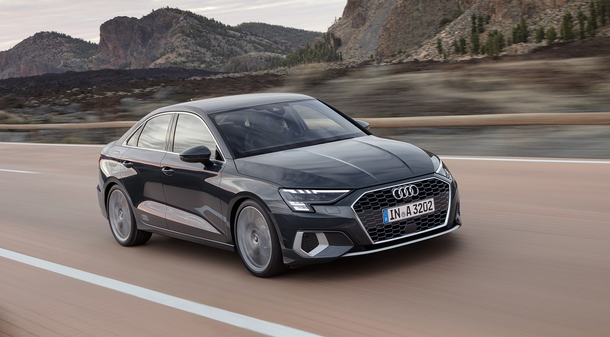 2022 Audi A3 front view in grey