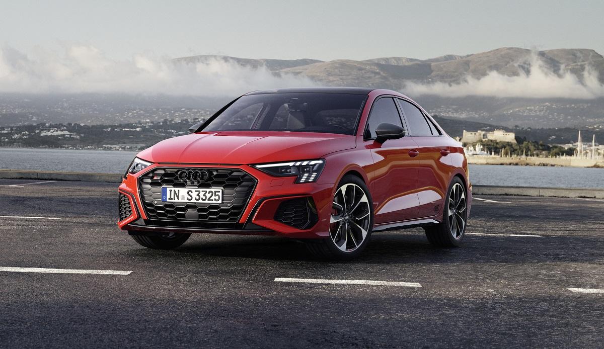 2022 Audi S3 front view in red
