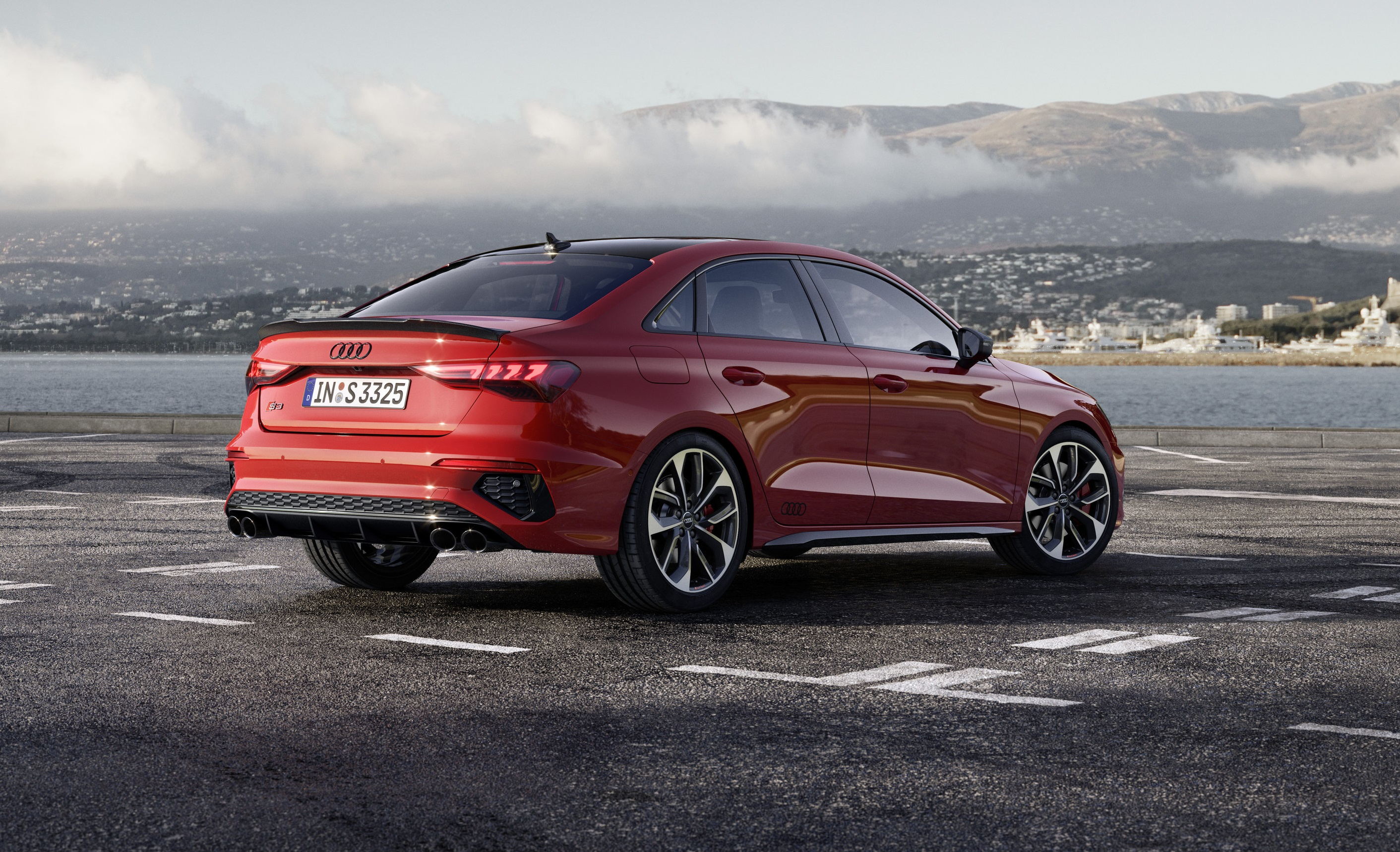 2022 Audi S3 rear view in red